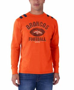 Denver Broncos Bruiser Long Sleeve T-Shirt Mens Orbit Orange 47 Brand