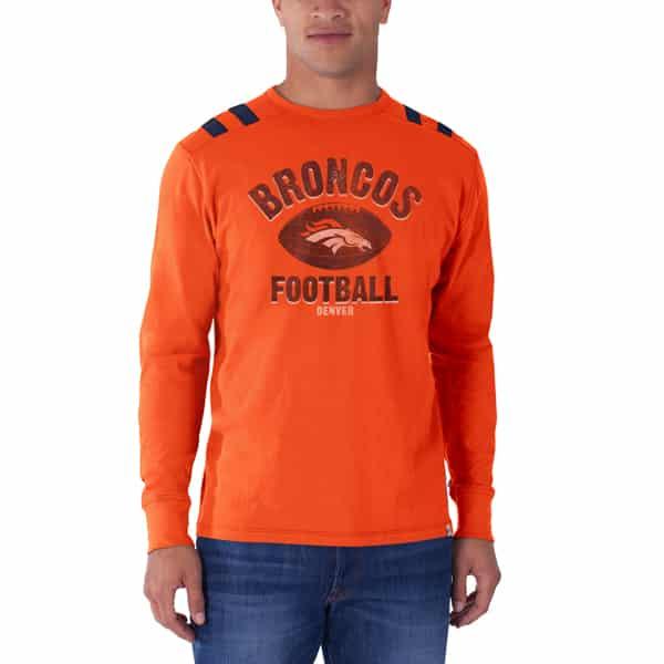 Denver Broncos Bruiser Long Sleeve T-Shirt Mens Orbit Orange 47 Brand