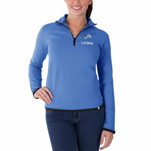 sports shoes 33392 3828f Detroit Lions Women's SMALL 47 Brand Blue 1/4 Zip Pullover Shirt