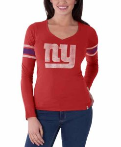 New York Giants Homerun Long Sleeve T-Shirt Womens Rebound Red 47 Brand