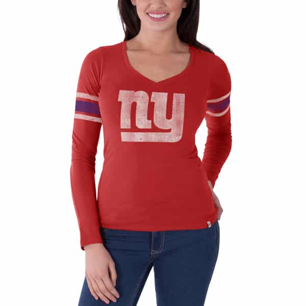 New York Giants Homerun Long Sleeve T-Shirt Womens Rebound Red 47 Brand