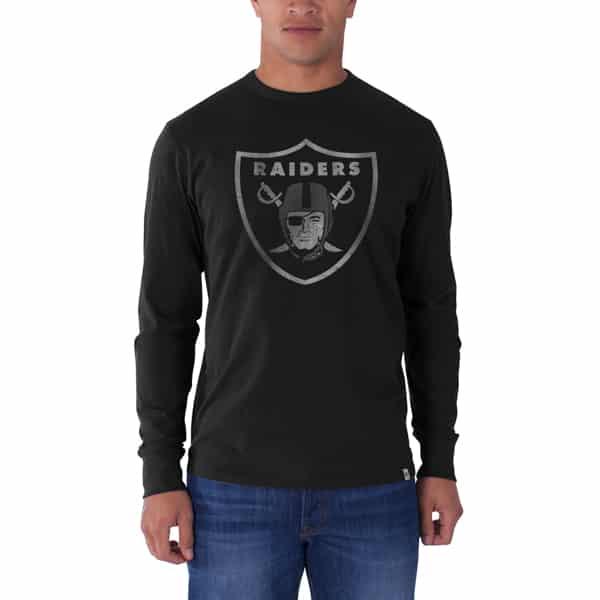 Oakland Raiders Long Sleeve Flanker T-Shirt Mens Jet Black 47 Brand