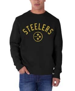 Pittsburgh Steelers Cross-Check Long Sleeve Crew Mens Shirt Jet Black 47 Brand