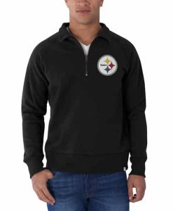 Pittsburgh Steelers Cross-Check 1/4 Zip Pullover Mens Jet Black 47 Brand