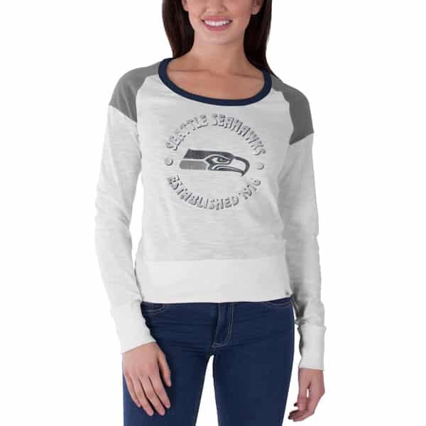 Seattle Seahawks Long Shot T-Shirt Womens White Wash 47 Brand