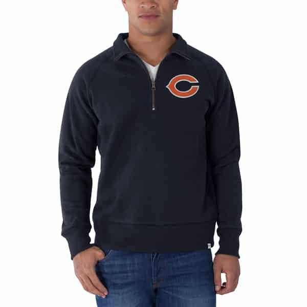 Chicago Bears Cross-Check 1/4 Zip Pullover Mens Fall Navy 47 Brand