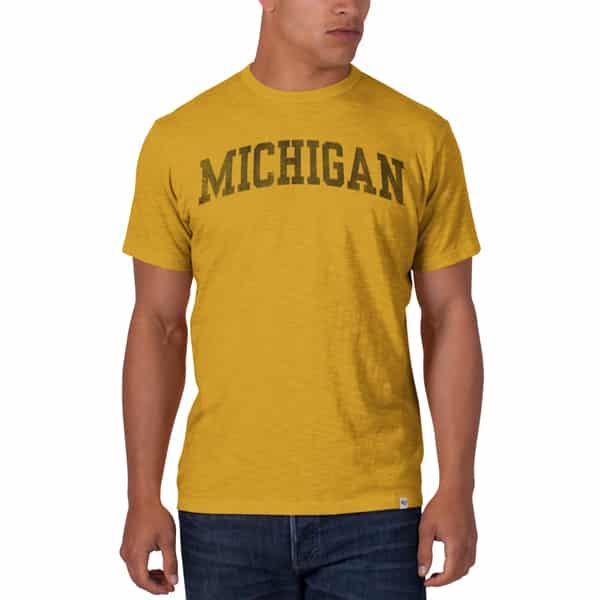 Michigan Wolverines Scrum T-Shirt Mens Galley Gold 47 Brand