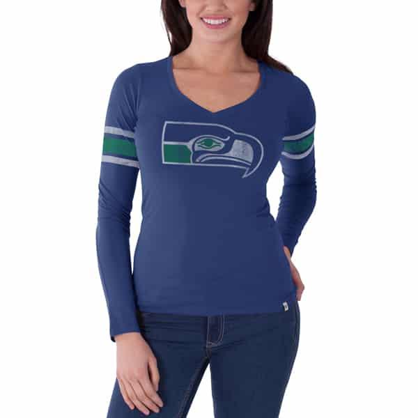 Seattle Seahawks Homerun Long Sleeve T-Shirt Womens Bleacher Blue 47 Brand