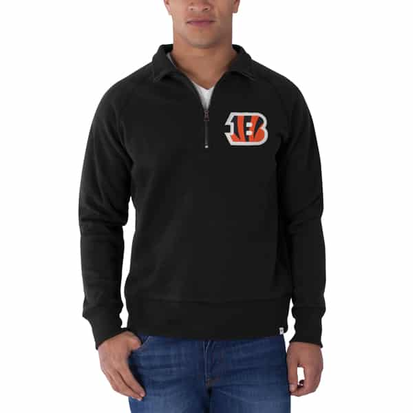 Cincinnati Bengals Cross-Check 1/4 Zip Pullover Mens Jet Black 47 Brand