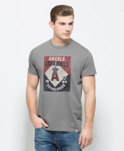 Los Angeles Angels Knockaround Flanker T-Shirt Mens Wolf Grey 47 Brand