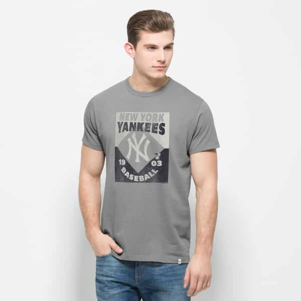 New York Yankees Knockaround Flanker T-Shirt Mens Wolf Grey 47 Brand
