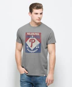 Philadelphia Phillies Knockaround Flanker T-Shirt Mens Wolf Grey 47 Brand