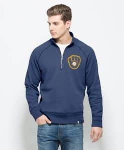 Milwaukee Brewers 47 Brand Men's Booster Blue Cross-Check 1/4 Zip Pullover