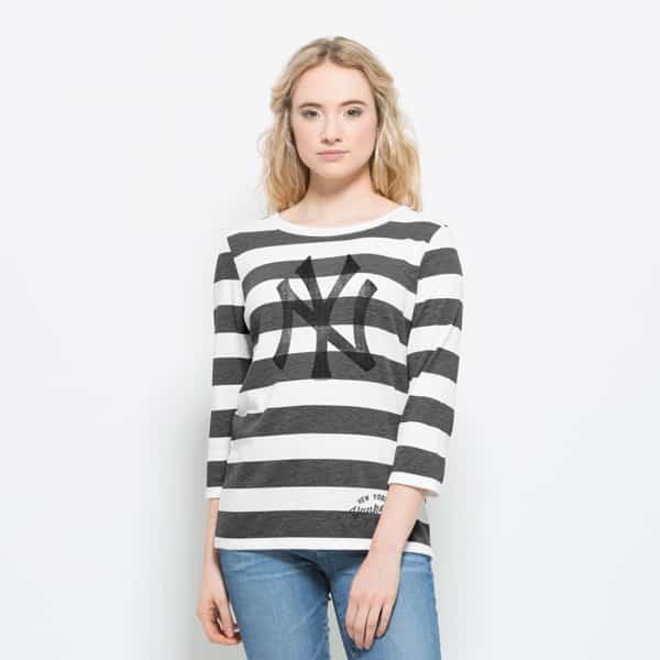 New York Yankees Deck Striped Shirt Womens White Wash 47 Brand