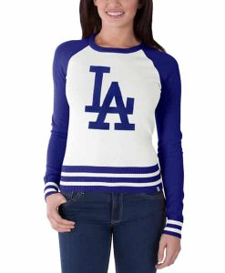Los Angeles Dodgers Passblock Sweater Womens White Wash 47 Brand