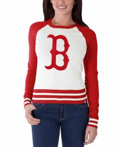 Boston Red Sox Passblock Sweater Womens White Wash 47 Brand