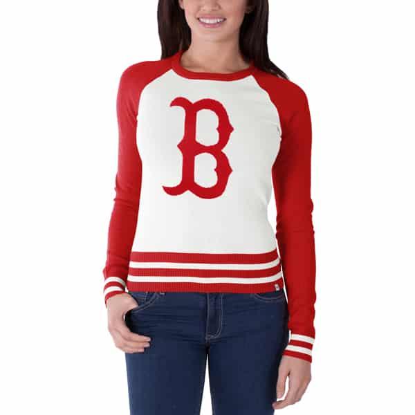 Boston Red Sox Passblock Sweater Womens White Wash 47 Brand
