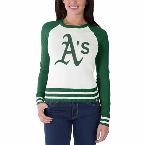 Oakland Athletics Passblock Sweater Womens White Wash 47 Brand