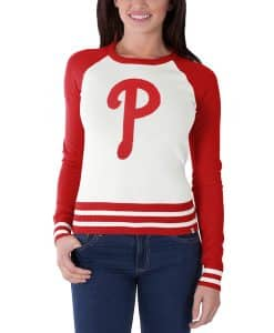 Philadelphia Phillies Women's 47 Brand Red White Passblock Sweater