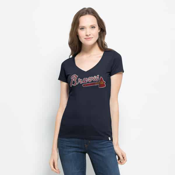 Atlanta Braves Flanker Mvp V-Neck Shirt Womens Fall Navy 47 Brand