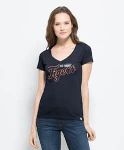 Detroit Tigers Flanker Mvp V-Neck Shirt Womens Fall Navy 47 Brand