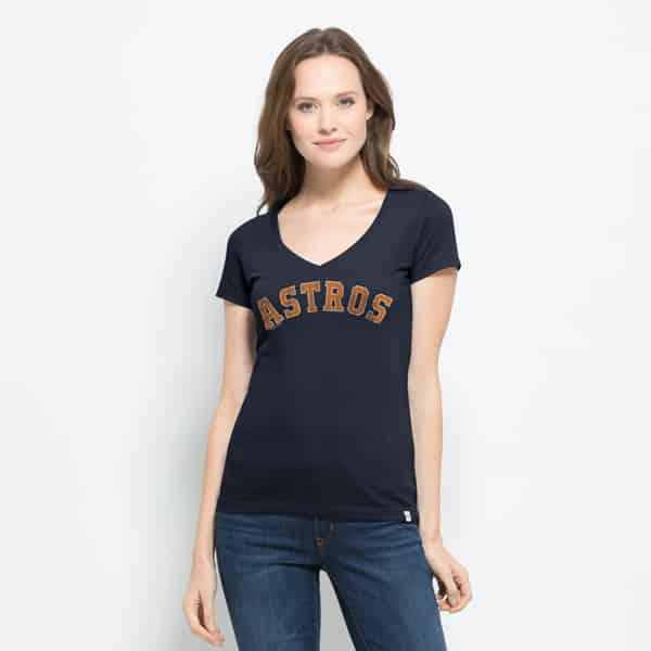 Houston Astros Flanker Mvp V-Neck Shirt Womens Fall Navy 47 Brand