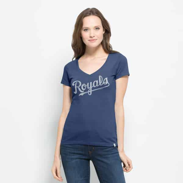 Kansas City Royals Flanker Mvp V-Neck Shirt Womens Bleacher Blue 47 Brand