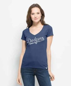 Los Angeles Dodgers Flanker Mvp V-Neck Shirt Womens Bleacher Blue 47 Brand