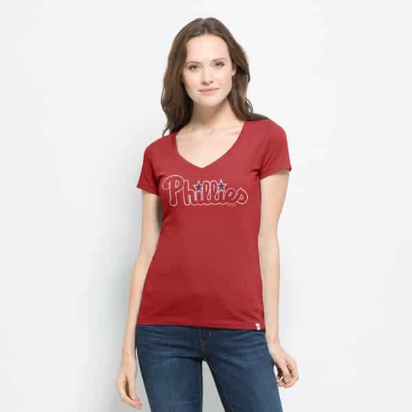 Philadelphia Phillies Flanker Mvp V-Neck Shirt Womens Rescue Red 47 Brand