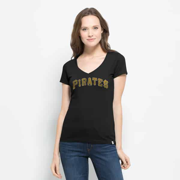 Pittsburgh Pirates Flanker Mvp V-Neck Shirt Womens Jet Black 47 Brand