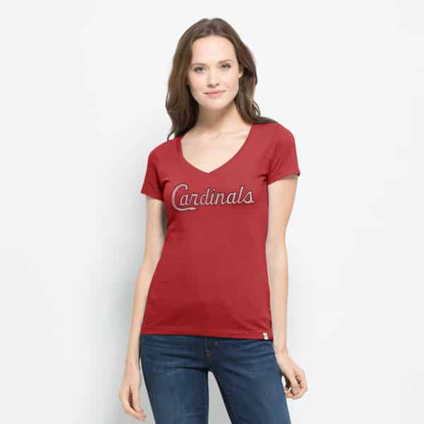 St. Louis Cardinals Flanker Mvp V-Neck Shirt Womens Rescue Red 47 Brand