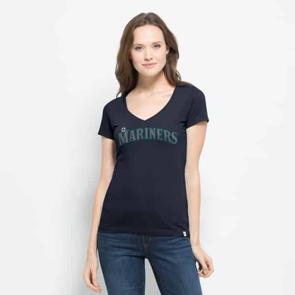 Seattle Mariners Flanker Mvp V-Neck Shirt Womens Fall Navy 47 Brand