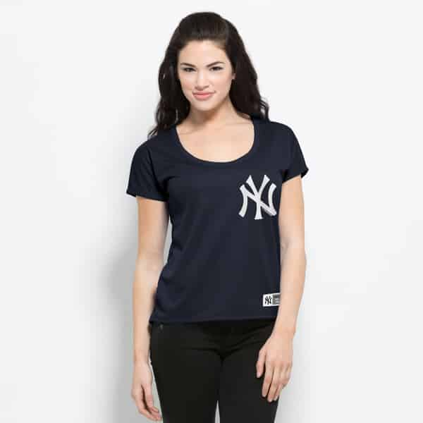 New York Yankees Intramural Logo T-Shirt Womens Fall Navy 47 Brand