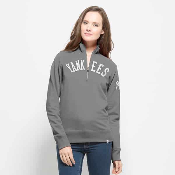 New York Yankees 47 Brand Womens Grey Cross-Check 1/4 Zip Pullover Shirt