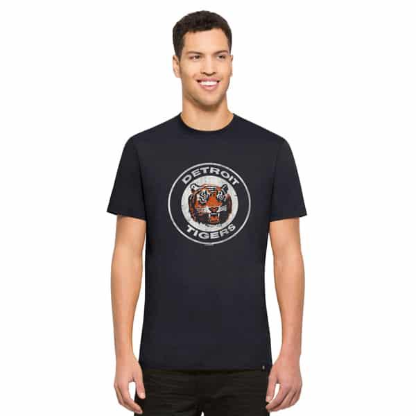Detroit Tigers 47 Brand Vintage Classic Logo Mens Navy Flanker T-Shirt
