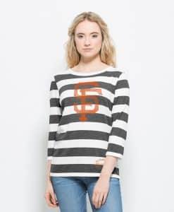 San Francisco Giants Deck Striped T-Shirt Womens White Wash 47 Brand