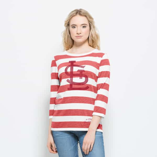 St. Louis Cardinals Deck Striped T-Shirt Womens White Wash 47 Brand