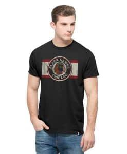 Chicago Blackhawks Knockaround Flanker T-Shirt Mens Jet Black 47 Brand