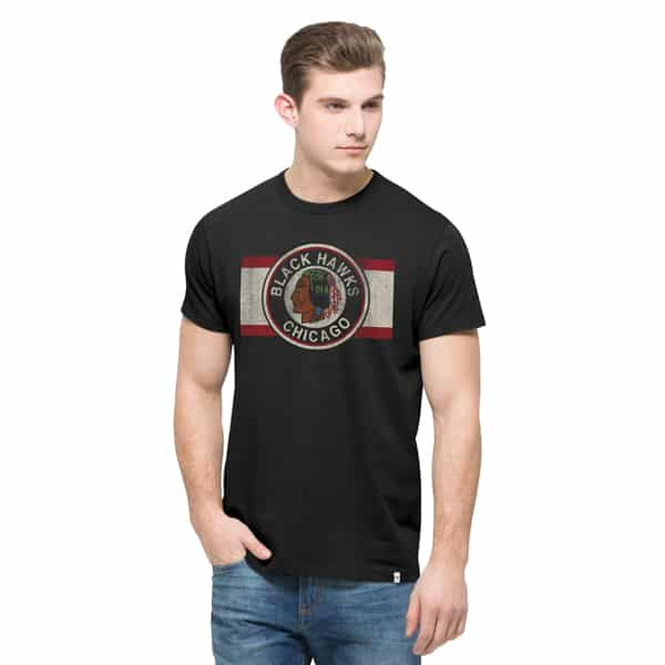 Chicago Blackhawks Knockaround Flanker T-Shirt Mens Jet Black 47 Brand