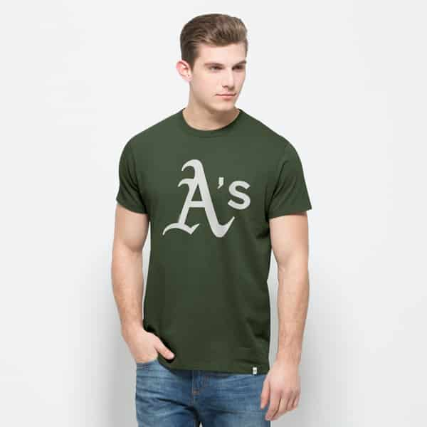 Oakland Athletics All Pro Flanker T-Shirt Mens Bottle Green 47 Brand