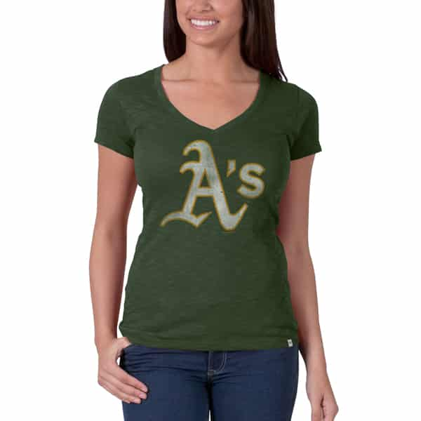 Oakland Athletics V-Neck Shirt Scrum T-Shirt Womens Bottle Green 47 Brand