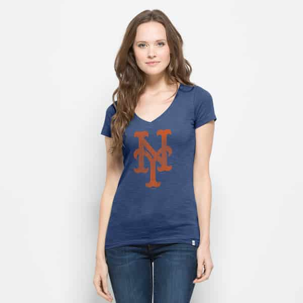 New York Mets V-Neck Shirt Scrum T-Shirt Womens Bleacher Blue 47 Brand