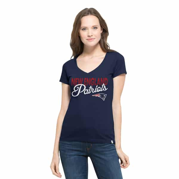 New England Patriots Flanker Backer V-Neck Shirt Womens Midnight 47 Brand