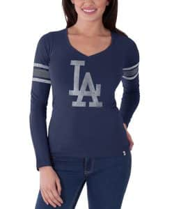Los Angeles Dodgers Homerun Long Sleeve T-Shirt Womens Bleacher Blue 47 Brand