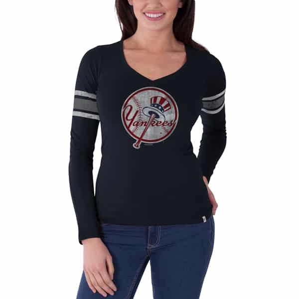 New York Yankees 47 Brand Womens Navy Classic Homerun Long Sleeve Shirt