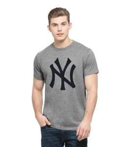 New York Yankees Frozen Rope T-Shirt Mens Slim Slate Grey 47 Brand