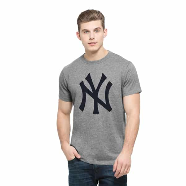 New York Yankees Frozen Rope T-Shirt Mens Slim Slate Grey 47 Brand