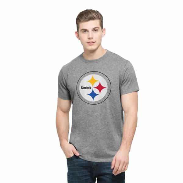 Pittsburgh Steelers Frozen Rope T-Shirt Mens Slim Slate Grey 47 Brand