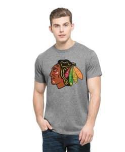Chicago Blackhawks Frozen Rope T-Shirt Mens Slim Slate Grey 47 Brand