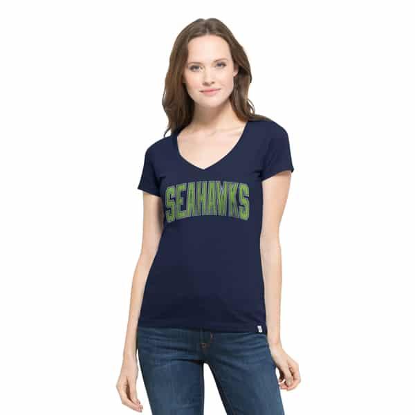 Seattle Seahawks Flanker Mvp V-Neck Shirt Womens Midnight 47 Brand